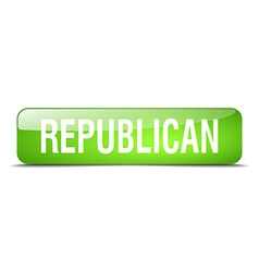 Republican green square 3d realistic isolated web vector