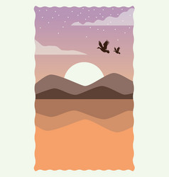 Sea scape flat scene with sand and birds flying vector