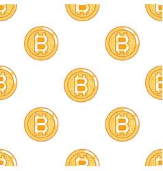 seamless pattern bitcoin coin technology digital vector image