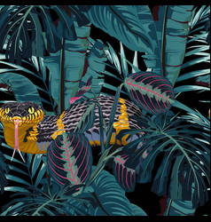 seamless pattern with snakes and tropical plants vector image