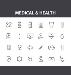 Set 24 medical and health web icons in line vector