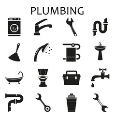 set black icons of plumbing vector image