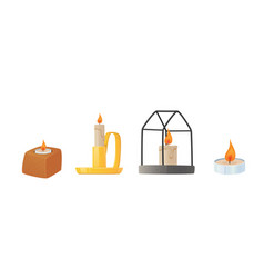 set candles in different candlestick isolated vector image