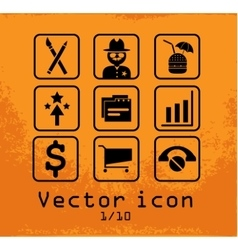 set of 9 line icons vector image