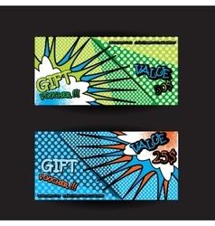 set of gift voucher card template pop art bright vector image