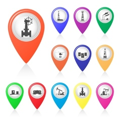 Set of silhouettes of oil industry in map markers vector
