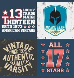 set vintage design print for t-shirt stamp tee vector image