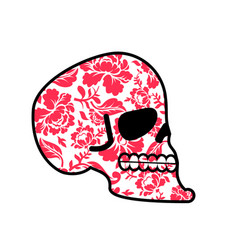 Skull of flowers head of skeleton and flower vector