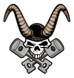 skull with horns and crossed pistons vector image