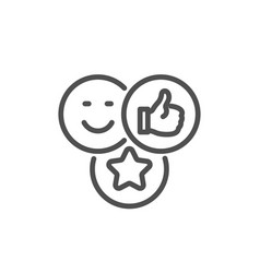 social media likes line icon thumbs up sign vector image