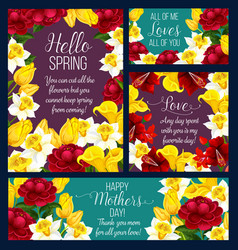 spring holiday greeting card with rose flower vector image