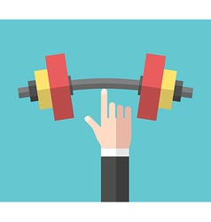 Strong hand holding dumbbell vector image