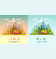 Summer camping day and sunset graphic posters vector