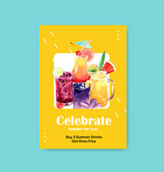 Summer drink poster template design for cocktail vector