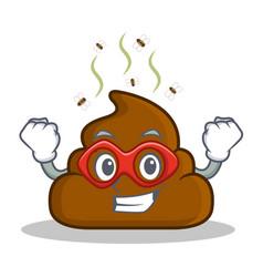 Super hero poop emoticon character cartoon vector