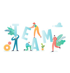 Teamwork concept business people characters team vector