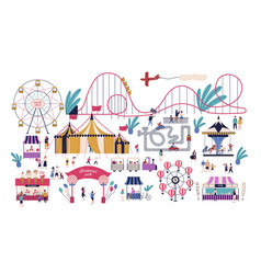 tiny people in amusement park with various vector image