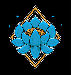 Traditional japanese lotus flash tattoo vector