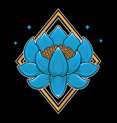 traditional japanese lotus flash tattoo vector image