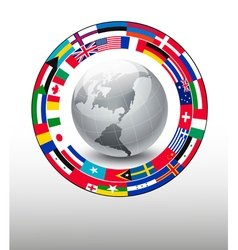 Travel background globe with a strip flags vector