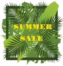 Tropical leaves background Summer sale concept vector