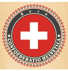 Vintage label cards of Switzerland flag vector image