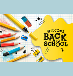 welcome back to school poster and banner with vector image