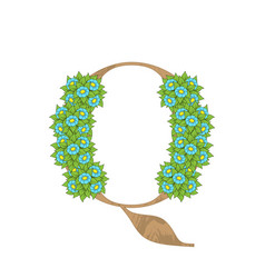 wooden leaves letter q vector image