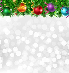 xmas silver poster with border vector image