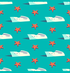 yacht travel seamless pattern vector image