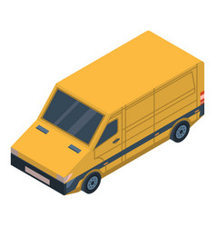 yellow delivery car icon isometric style vector image