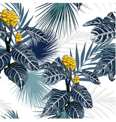 yellow tropical flowers and plants blue background vector image