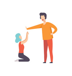 young woman kneeling in front of angry man couple vector image