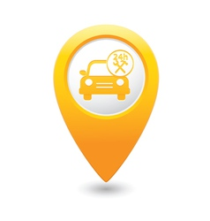 car with tools icon map pointer yellow vector image vector image