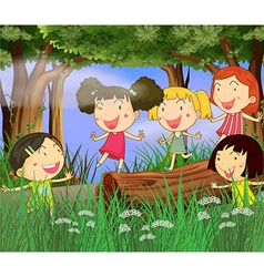 Children playing in the woods vector image