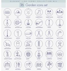 garden outline icon set Elegant thin line vector image vector image