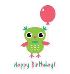 Happy birthday card with an owl vector