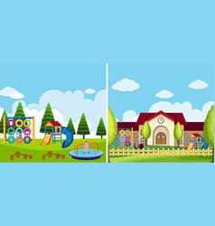 two playground scenes at the park and school vector image