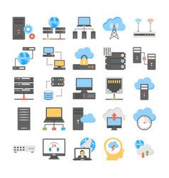 web hosting and cloud computing process flat vector image