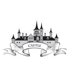 Castle building sign travel landmark label fairy vector