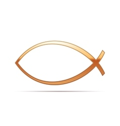 Gold christian fish icon on white background vector