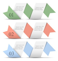 Origami paper numbered banners in pastel colors vector image vector image