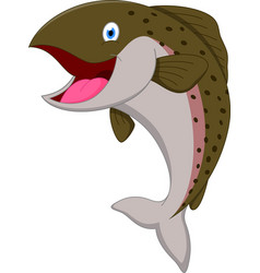 salmon fish cartoon vector image