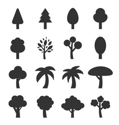 tree icon set vector image vector image