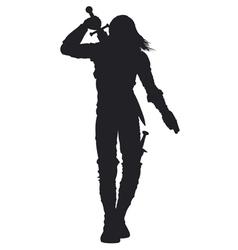 Warrior man silhouette vector image
