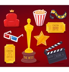 Big cinema objects collection on red back vector