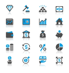 Business and investment flat with reflection icons vector