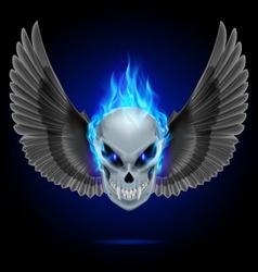 Flaming mutant skull vector image