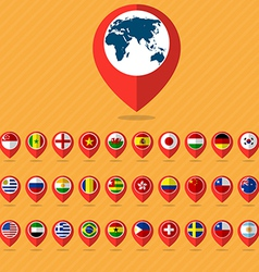 Flat icon set check in and flags vector image
