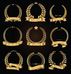 golden laurel wreath with golden ribbon vector image vector image